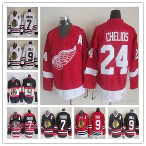 Vintage Detroit Ali rosse 24 Chris Chelios Retro Classic Chicago Blackhawks 7 Chris Chelios 9 Bobby scafo Tutte le maglie da hockey cucite a buon mercato