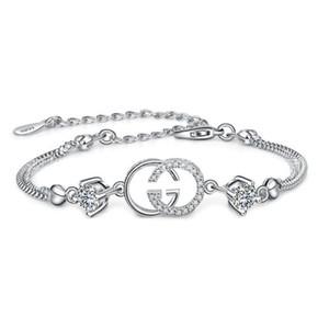 Trasporto di goccia del progettista di marca calda di alta qualità il braccialetto per le donne Bracciali Bianco Viola di cristallo per la femmina Silver Jewelry