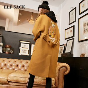 ELF SACK Casaco de Inverno Novas Mulheres Cinto de Lapela De Largura Bolso De Lã Mistura Casaco Animal Print Casual Trench Outwear Mulheres De Lã