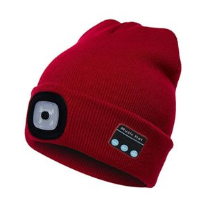Unisex Kintted Hat Built-in 4Pcs Led Lights BT5.0 Knit Cap Autumn Winter Warm Beanie Cap for Outdoor Cycling Fishing Camping