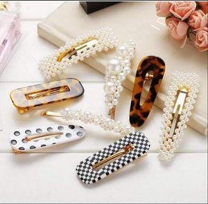 Pearl Hair Clips Resin Hairpins Pearl Hair Barrettes,Gold Acrylic Leopard Marble Geometric Hairpin, Tortoise Hair Clips for Women Girls-Pea