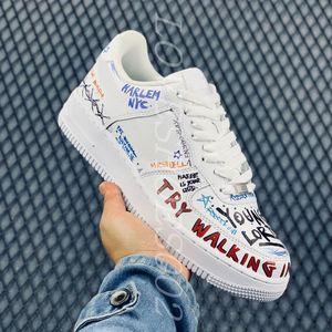2020 New Pauly 1 Low Mase Custom Graffiti White Men Sports Shoes Size 40-46