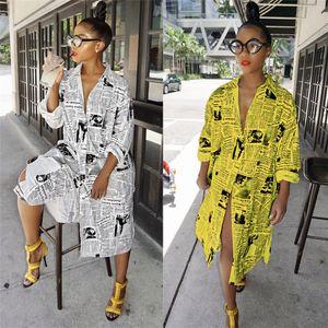 Nuevas ventas de periódicos impresión de la letra moda mujer camisa larga vestidos manga larga solapa cuello botones primavera verano vestido ocasional 2019
