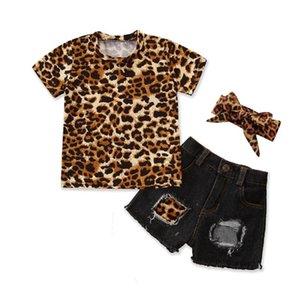 1-5 Y neonate 3pcs prendisole manica corta Leopard tee Top denim foro pantaloncini di jeans fascia Set Bambini estate delle ragazze vestiti Set