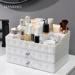 Yeni Banyo Masaüstü Makyaj Organizatör çekmece plastik saklama kutusu tuvalet masası kozmetik durumda takı küçük nesne depolama ...