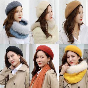 Lady Moda Wool Beret Chapéus Mulheres Causal Viagem inverno quente cor sólida malha Cap Outdoor menina Bonnet Caps TTA1456