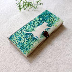 Coton à la main en lin Wallet Femmes Eco Friendly long Wallet vert