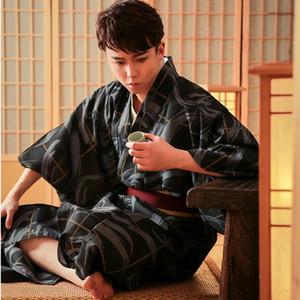 Japon Standart Kimono resmi Samurai Asya geleneksel bornoz Black Man Japon Kimono Floweral Vintage Akşam Robe Elbise Erkekler