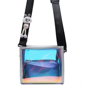 Creative design women small cosmetic bags clear PVC Laser sparkly flap bags with mini clutch inside