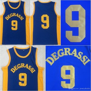 Mens Drake Jimmy Brooks # 9 DEGRASSI Community School Movie Basket Jersey 100% cucita blu S-3XL trasporto veloce