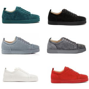 Best Designer shoes Red Bottom junior Studded Spikes Sneakers mens real leather trainers Party shoes US 5-12.5 hococal