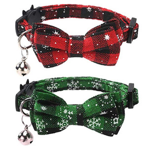 Christmas Cat Collar Breakaway With Cute Bow Tie and Bell For Adjustable Safety Plaid Collar Xmas Decoration HH9-2592