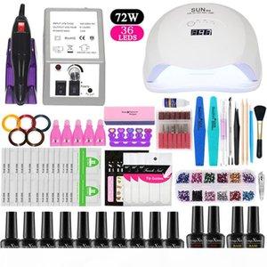 36 48 54W UV LED Gel Lamp for Nails Manicure Set 10 pieces Gel Nail Polish Varnish Extension Polygel Tool Kit nail set