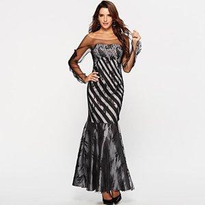 New 2020 Lace Mesh Slim Party Dresses Ladies Long Sleeve O-neck Evening Mermaid Dress Ladies Sexy Backless Black Long Dress
