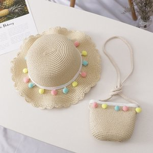 New Hat Bag Set Wavy Straw Hats Colored Balls Cap Single Shoulder Bag for Kids Spring Summer Beach LMH66