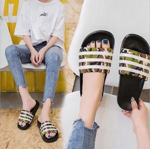 2019 Nueva Boda en la playa Zapatillas de camuflaje Diapositivas Zapatos de estilo casual de verano Sandalias interiores y exteriores antideslizantes Inicio Chanclas para hombre Sapato masculino