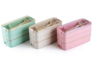 900ml portátil material sano caja de almuerzo de 3 capas de paja de trigo Bento cajas Microondas Vajilla Alimentación Contenedor de almacenamiento Foodbox