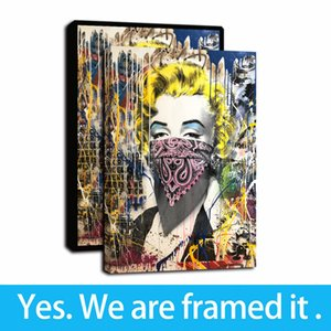 Banksy Graffiti Street Art Colorful Marilyn Monroe By Mr. Brainwash Portrait Canvas Prints Oil Painting Poster Wall Painting Home Decor