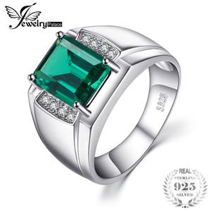 Jewelrypalace hombres de lujo 2.7ct creado esmeralda aniversario anillo de bodas genuino 925 Sterling Sliver 2018 nuevo anillo J 190430