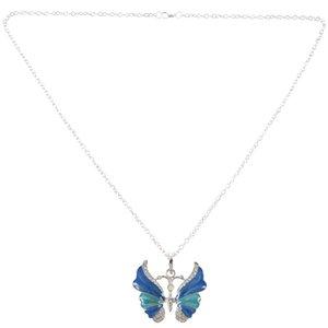 FashionChristmas New Fashion Retro Butterfly Crystal Rhinestone Pendant Necklace blue