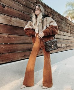 Womens Pants 2019 Spring and Autumn New Fashion Flare Pant Retro Style Corduroy Trouser Street Style Pink Pants free shipping