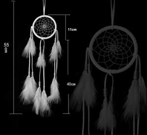 Apanhador de sonhos decoração pendurado com Penas Brancas Penduradas Decoração Dreamcatcher Net Índia Estilo Hourse Decoração Branco