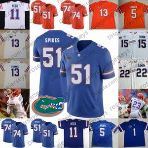 NCAA Florida Gators # 5 Joe Haden 11 Reed Steve Spurrier 51 Brandon Spikes 13 Newton Royal Blue Orange White Maglia da calcio ritirata