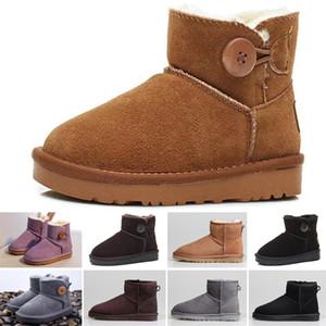 UGG boots alta calidad de la venta caliente niños nieve botas de cuero genuino botas de nieve para los niños Botas zapatillas de deporte con los arcos de niños Calzado chicas
