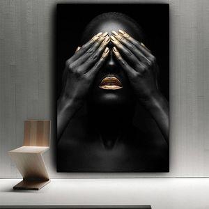 Lèvres main noir et or Femme nue Peinture sur toile Cuadros Affiches et copies Wall Art Image pour Salon