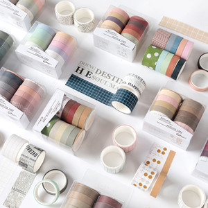 Japonés 10 * Roll Colors Dibujos animados Mini DIY Decoración Papel Washi Tapes Set Diario Masking Tapes Roll Set para Scrapbook 2016
