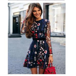 Dotfashion Navy Floral Stickerei Mesh Overlay Kleid Frauen Kleidung 2019 Hohe Qualität Sommer Casual Mantel Dünne Langarm Kleid