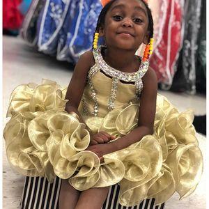 2019 encantadora magdalena niñas vestidos de desfile de perlas de diamantes de imitación sin mangas vestido de niña de flores para la boda para niñas vestidos de fiesta