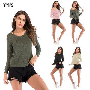 European and American Womens 2020 Spring New Small Shoulder Strap V-neck Long-Sleeved T-shirt Women Casual Fashion Solid Color Shirt Women