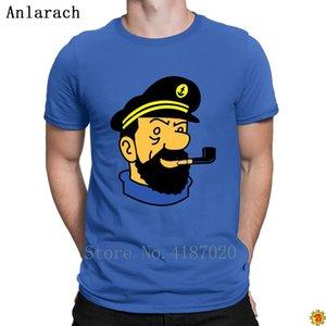 Camisetas de quadrinhos Capitão Haddock Tintin dos desenhos animados Verão HipHop Top louco impressão T Shirt For Men 100% Algodão clássico Original