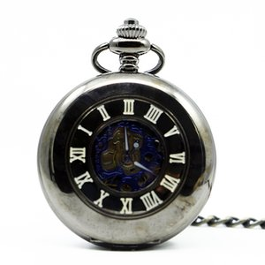 Classical Steampunk Black Smooth Case Hollow Mechanical Pocket Watch Royal Blue Skeleton Men Women Pendant Fob PJX1263