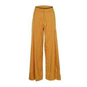 Kinikiss 2019 Pantalones casuales de mujer de cintura alta Piernas anchas Otoño Amarillo Otoño Blanco Botón suelto Cremallera Pantalones femeninos plisados de moda Y19071801