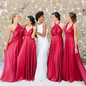 2021 Кабриолет Стиль Красный Дешевые платья невесты Линия Backless Складки Длина пола Country Garden Maid Чести Gowns