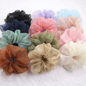 Scrunchies Hairbands Plus Size Gauze Women Hair Ties Rope Solid Girls Headband Ponytail Holder Summer Hair Accessories 20 Color DW5188