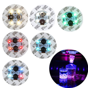 LED Glow Bottle Stickers Coasters Lights Battery Powered LED Party Drink Cup Mat Christmas Vase New Year Halloween Decoration Lights