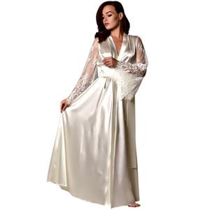 Mulheres Pijamas Mulheres cetim longo Nightdress Silk Lace Lingerie Pijamas Sexy Robe camisola sexy lingerie quente @ 8