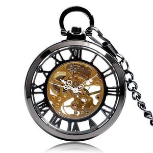 Steampunk Números Romanos Esqueléticos Negros Ver a través Reloj de Bolsillo Mecánico de Mano Reloj de Viento con Cadena Unisex Regalo de Navidad C19010301