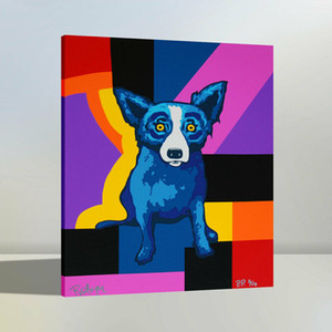 Haute Quaity HD peint à la main Impression sur toile Accueil Art Décoration murale Animaux Peinture à l'huile Chromatic Blue Dog
