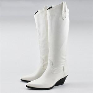 défilé de mode Western Cowboy Bottes Femmes Noir Blanc PU cuir mi-mollet Chunky Compensées Bottes Automne Chaussures d'hiver
