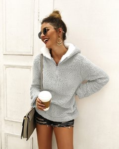 2019 autumn and winter high-necked blouses zipper pocket sweater good fabric