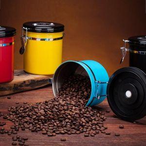 Герметичная Coffee Bean Контейнер для хранения из нержавеющей стали Герметичный Герметичный канистра с ложкой Кофе в зернах Сахар Контейнер Holder