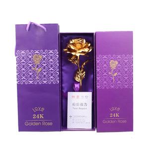 высокое качество 24k позолоченная фольга Роза искусственный цветок подарки для любовника свадьба Рождество День Святого Валентина День матери подарки с фиолетовой коробкой