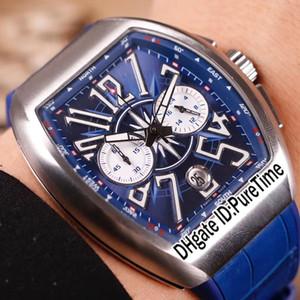 Nova Saratoge V45 CC DT Yachting OG Caso De Aço Azul Dial Subdial Prata Automático Mens Watch Pulseira De Couro De Borracha Azul Relógios Puretime 152a1
