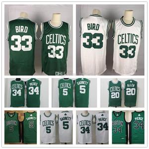 Vintage BostonCelticsMaglia Paul Pierce 34 Jersey Larry 33 Uccello 20 Gordon Hayward Bill Ray Allen 34 cucito pullover di pallacanestro