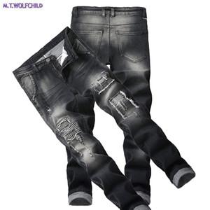 أزياء 2018 ذكر جينز رجالي المتعثرة هول المرقعة الدينيم السراويل عارضة مستقيمة ضئيلة السراويل قاطرة 28-42