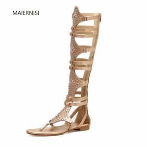 MAIERNISI Summe Europa y América zapatos planos sandalias nueva tendencia nuevo patrón remache zapatos mujer moda Casual 4-8 9